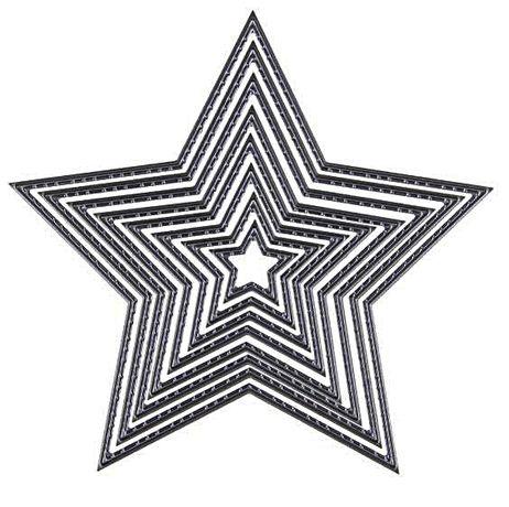 Wykrojnik GWIAZDY gwiazdki z przeszyciami 8szt