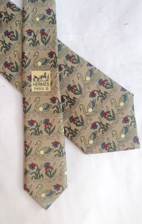 Hermès 7285 MA с принтом лебедей Мужской шелковый галстук 100% аутенти