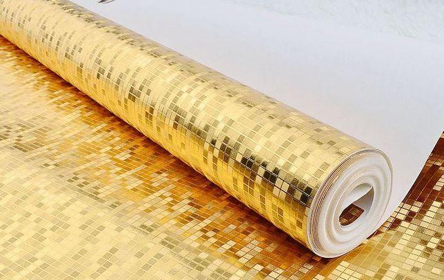 Złota winywlowa tapeta mozaika Glamour 10mx53 cm