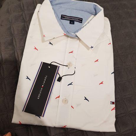 Piękna koszula Slim fit damska w ptaki biała klasyk 40 L 42 XL