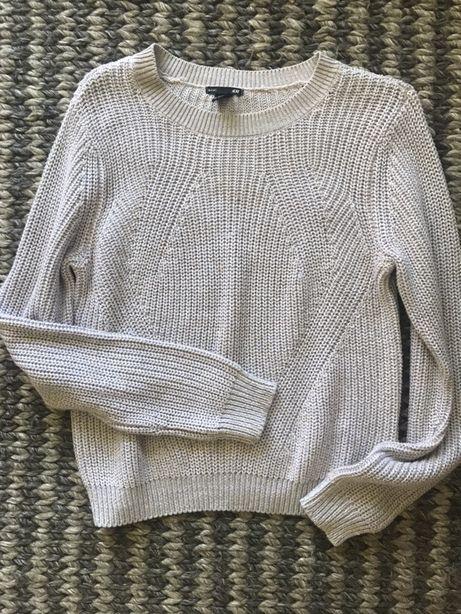 Nowy sweter sweterek melanż beżowy szary rozm M