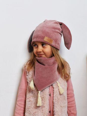 Komplet dla dzieci Czapka z uszami + Chusta Aksamit Bawełna Wiosna