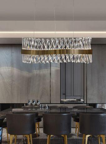 Candeeiro suspensão cristal acabamento dourado design moderno