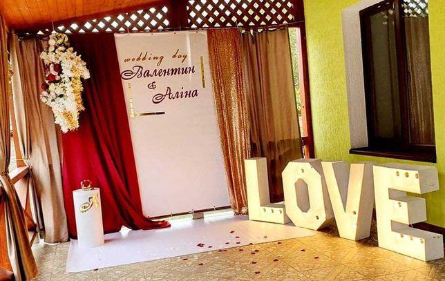 Продам буквы Love , тележка, ткани, канделябры и т.д.
