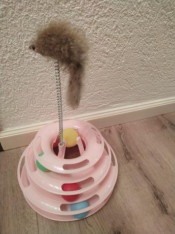 Brinquedo gato piramide com bolas e rato rosa ou azul