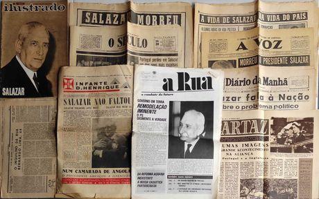 Vários Jornais Revistas e Recortes sobre Salazar (LER DESCRIÇÃO)