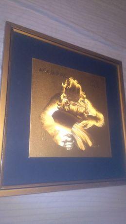 Quadro dourado com signo aquário