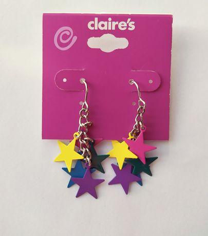 Nowe kolczyki kolorowe gwiazdki Claire's wiszące