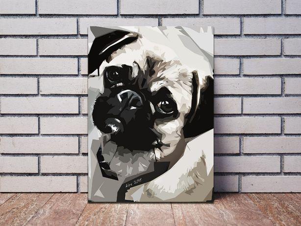 Картины собаки живопись Мопс Кинг Чарльз Спаниель Джек Рассел животные