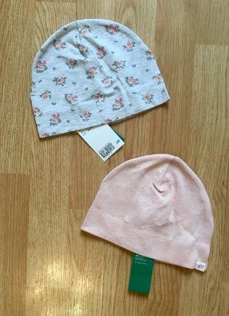 Трикотажная шапка, шапочка для девочки H&M, комплект, р.1-2 г,86-92