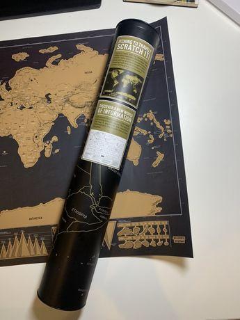 Скретч-карта мира Travel Map Black World English 43.3 * 30 см ( с план