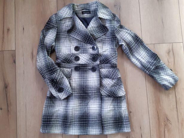 Płaszcz krata stylowy modny kremowo-czarny r.38 M