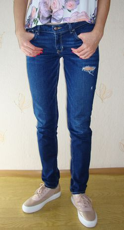 Granatowe dżinsy, Leginsy, Jeans, spodnie, krótki stan, M/L