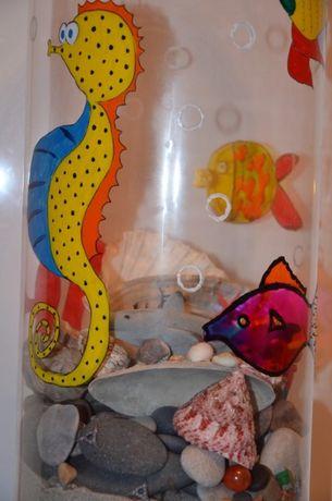 Wazon szkło , rybki morskie , pirat, morze, piasek, akwarium
