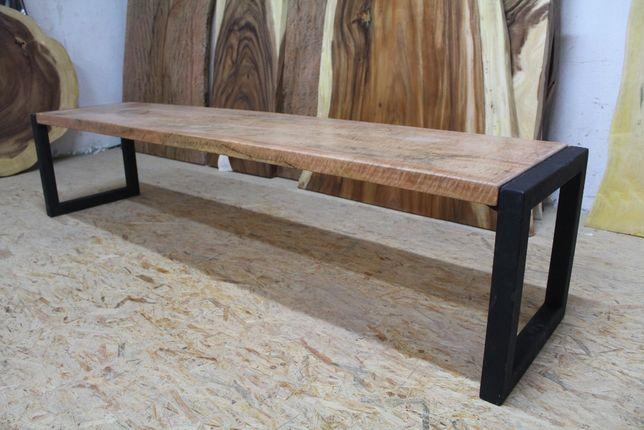 Ława drewniana Mango, stalowe nogi