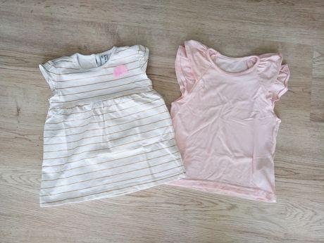 2x bluzeczka dziewczęca r. 86 jak nowa krótki rękaw