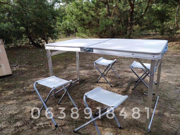 УСТОЙЧИВЫЙ стол для пикника УСИЛЕННЫЙ + 4 стула + ЗОНТ раскладной стол