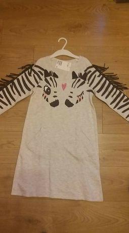 Nowa tunika sukienka HM 122/128 zebra