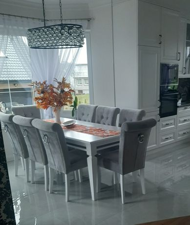 Krzesło z kołatką pikowane Chesterfield wygodne do salonu jadalni nowe