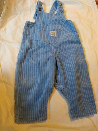 Ciepłe Spodnie sztruksowe r. 68 niebieskie ogrodniczki