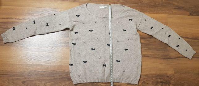 Sweter cienki kokardki cyrkonie M/L