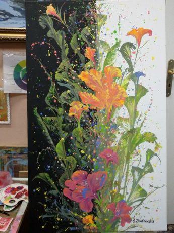 """Интригующая картина """"Цветы Кассиопеи"""" в стиле акриловой заливки 100×60"""