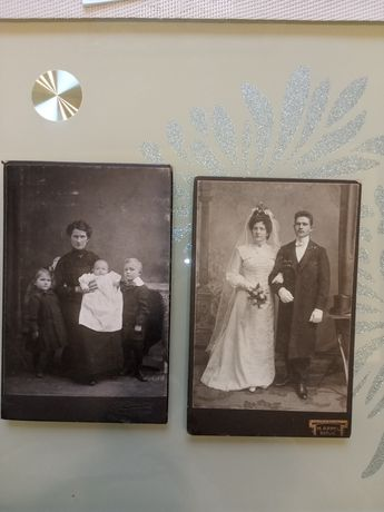 Zdjęcia fotograf 2 szt antyk sztywne okolo 1900