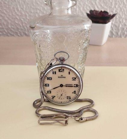 Relógio Silgar de bolso, mecânico de corda, antigo vintage, bom estado