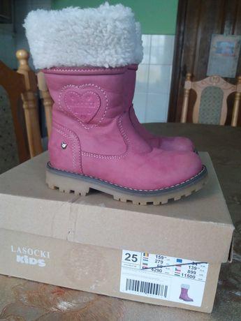 Kozaki buty Lasocki Kids rozmiar 25 skórzane.