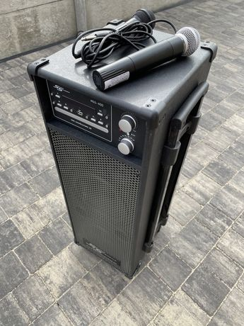 Wysoka Kolumna Mobilna z Odtwarzaczem Cd Dvd USB mikrofony radio FM ak