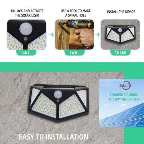 Ліхтар світильник LED з датчиком руху освітлення на сонячній батареї