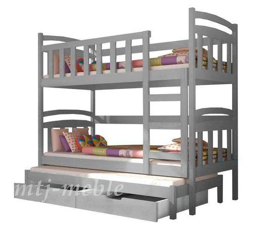 Sosnowe łóżko, młodzieżowe! Dla 3 dzieci! Trzy osobowe! Materace grati