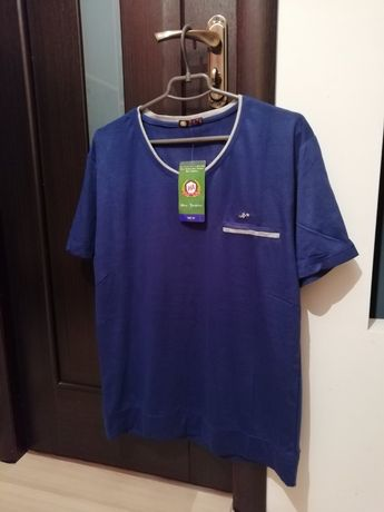 Мужская футболка синяя 52-54 р чоловіча синя короткий рукав