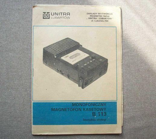 Magnetofon B 113, UNITRA Lubartów, instrukcja ze schematem, PRL.