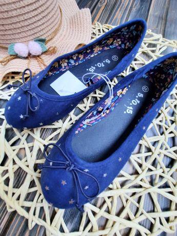 Baleriny buty dziewczęce granat  Rozm. 32, 33 Nowe