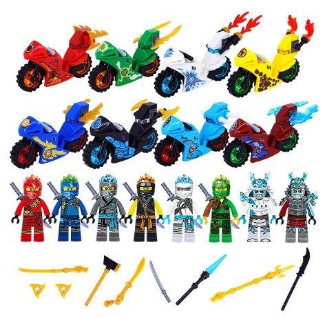 figurki Ninjago z pojazdami i akcesoriami - pasują do Lego