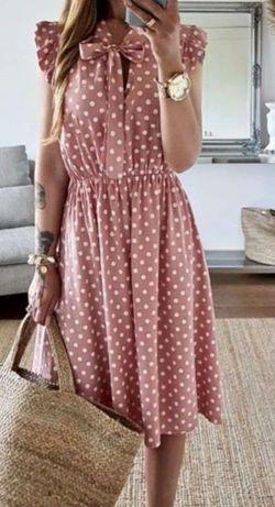 Sukienka damska groszki. Wiązana. Idealna na brzuszek ciążowy :)