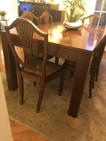 6 cadeiras em madeira cerejeira e palhinha