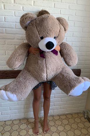 Огромный большой плюшевый медведь коричневый мишка