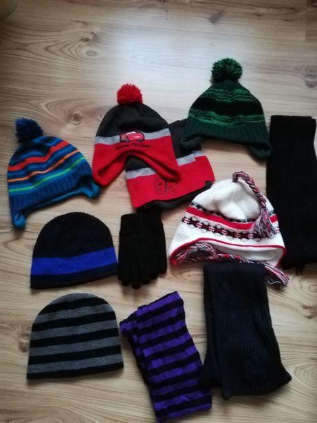 Zestaw czapek i szalików zimowych, czapka, szalik 4-8 lat