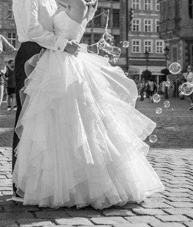 Suknia ślubna długa z falbanami 36 rozmiar