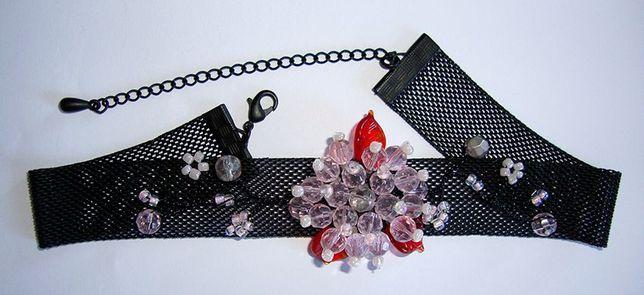 Naszyjnik, kolia, kryza, choker, kryształki, kwiat, ozdoba, goth