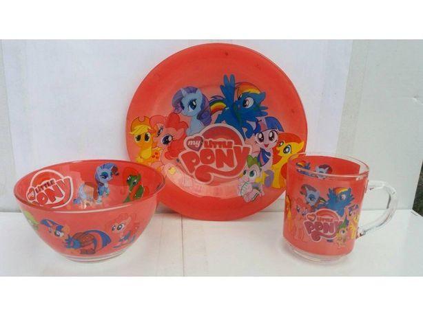 Набор детской посуды 3в1 - с изображением ,,Мой маленький Пони,,