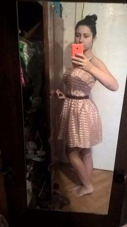 Платье бежевое чёрное велюровое летнее