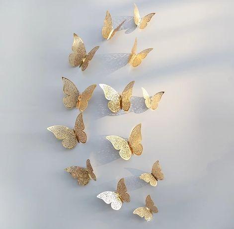 Motyle ażurowe srebrne złote 3D