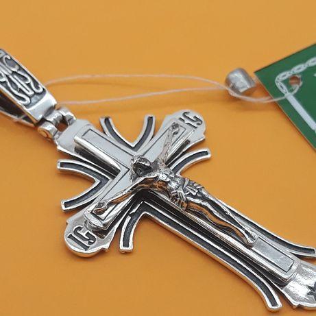Красивый Серебряный крест Серебро 925 пробы крестик подвес