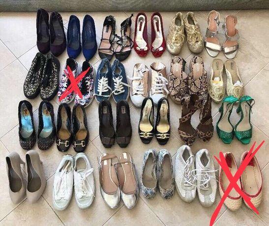 Lote de 24 sapatos sandálias e sapatilhas senhora várias marcas 38