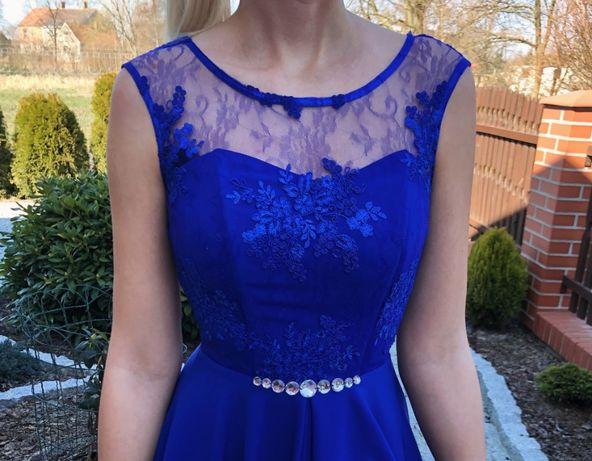 Chabrowa sukienka z koronką (rozmiar 34 - XS)
