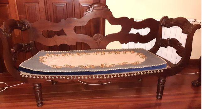 Canapé Antigo Madeira Exótica Palhinha / Assentos Estofados Cadeiras