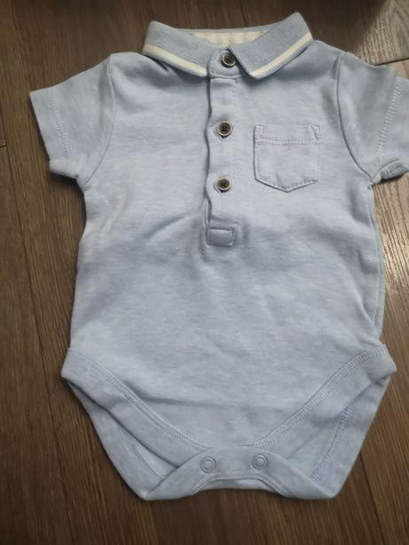 Body niemowlęce chłopiec next niebieskie kołnierzykiem krótki rękaw 62
